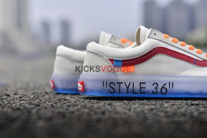03a3306db8 Custom Off-White x Vans Style 36 Marshmallow Racing Red Ice Blue Sole