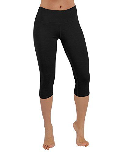 Womens Yoga Pants High Waist Workout Running Capri Leggings with Side Pocket Solid Activewear Training Pants