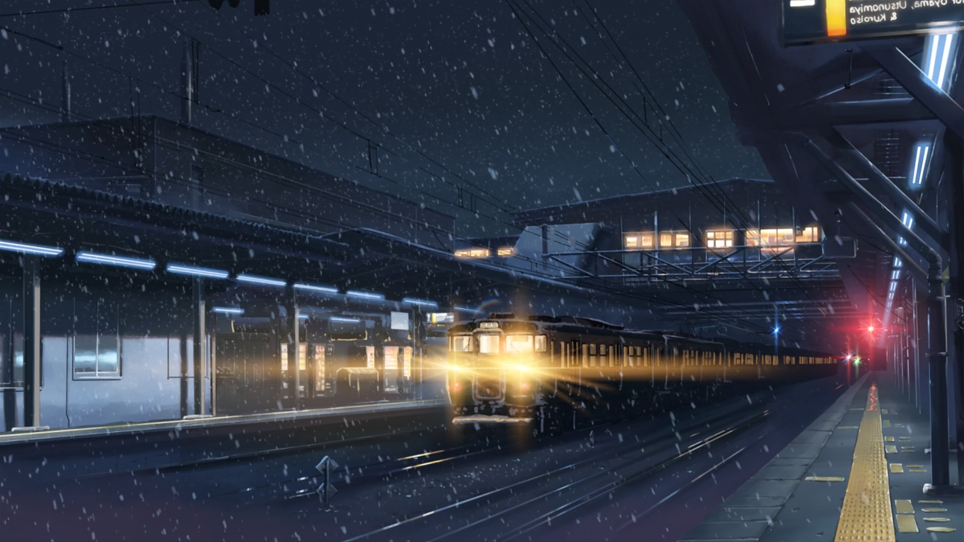 34098 Anime Winter Lights Train Station Snow Night