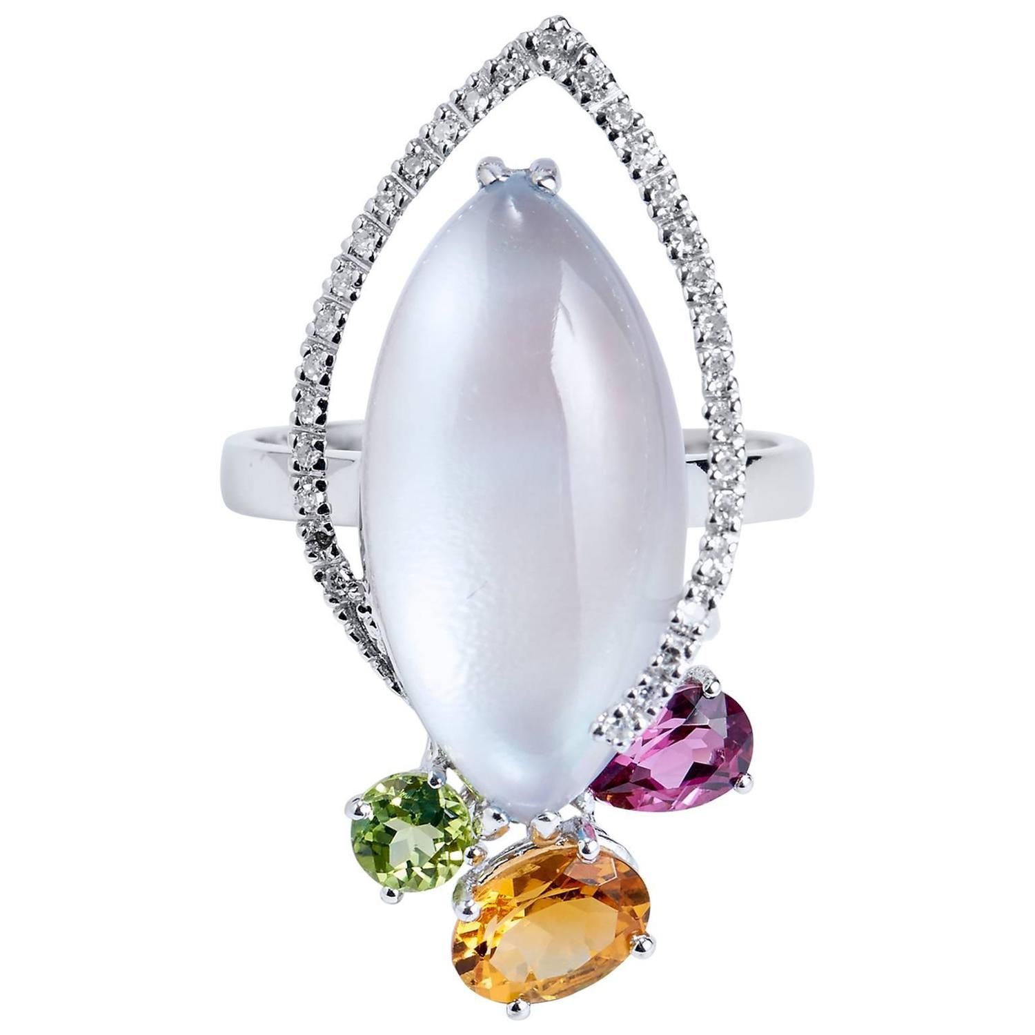 Topaz over mother of pearl diamond gold ring pearl diamond gold