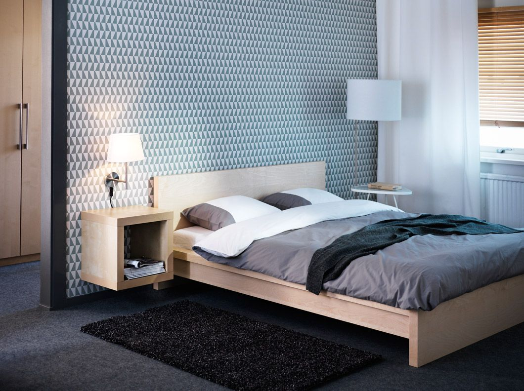 malm birch veneer bed with expedit birch effect shelving unit and stockholm floor lamp