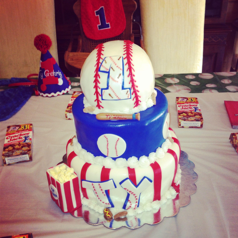 Tys first birthday cake baseball themed party Babys 1st Birthday
