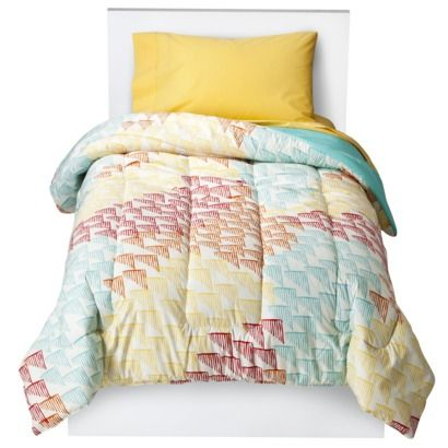 Yellow, Blue, Red are a great happy combo! Room Essentials® Multi Triangles Comforter #goodhousekeeping #happyroom