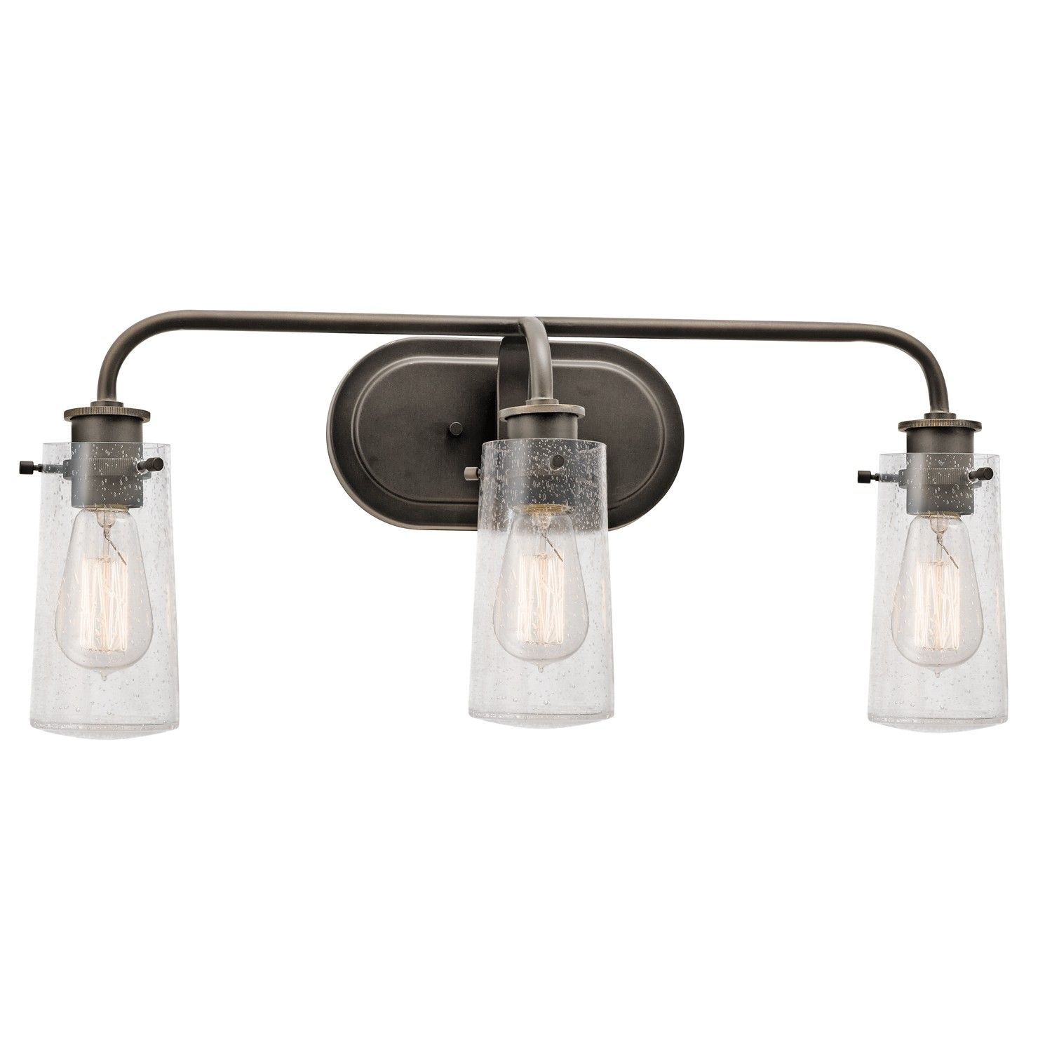 Three Light Wall Mount Bath Rustic Bathroom Vintage Bulbs Bronze