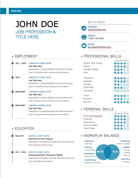 Awesome Free Modern Professional Resume Templates