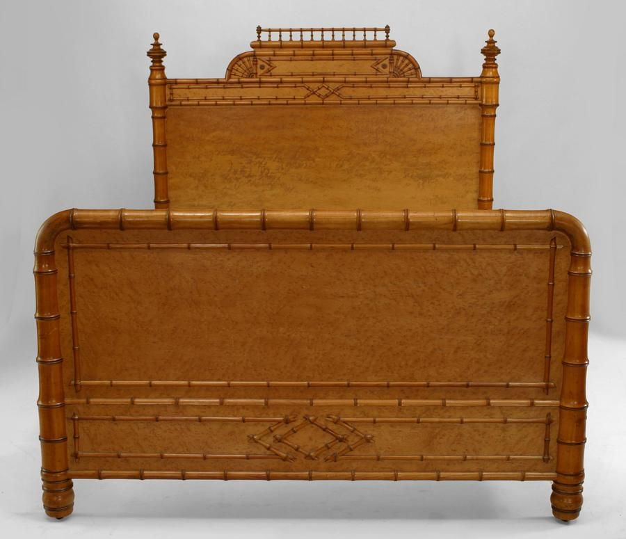 Best Bamboo Faux Bamboo Bed Full Size Bird S Eye Maple Faux 400 x 300