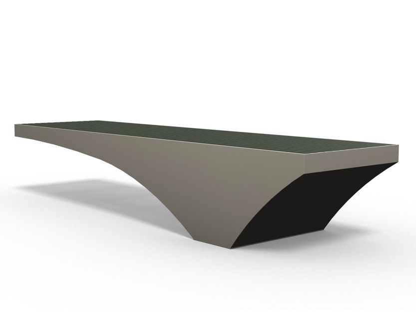 Backless stainless steel and PET Bench COMFONY 50 by BENKERT BÄNKE ...