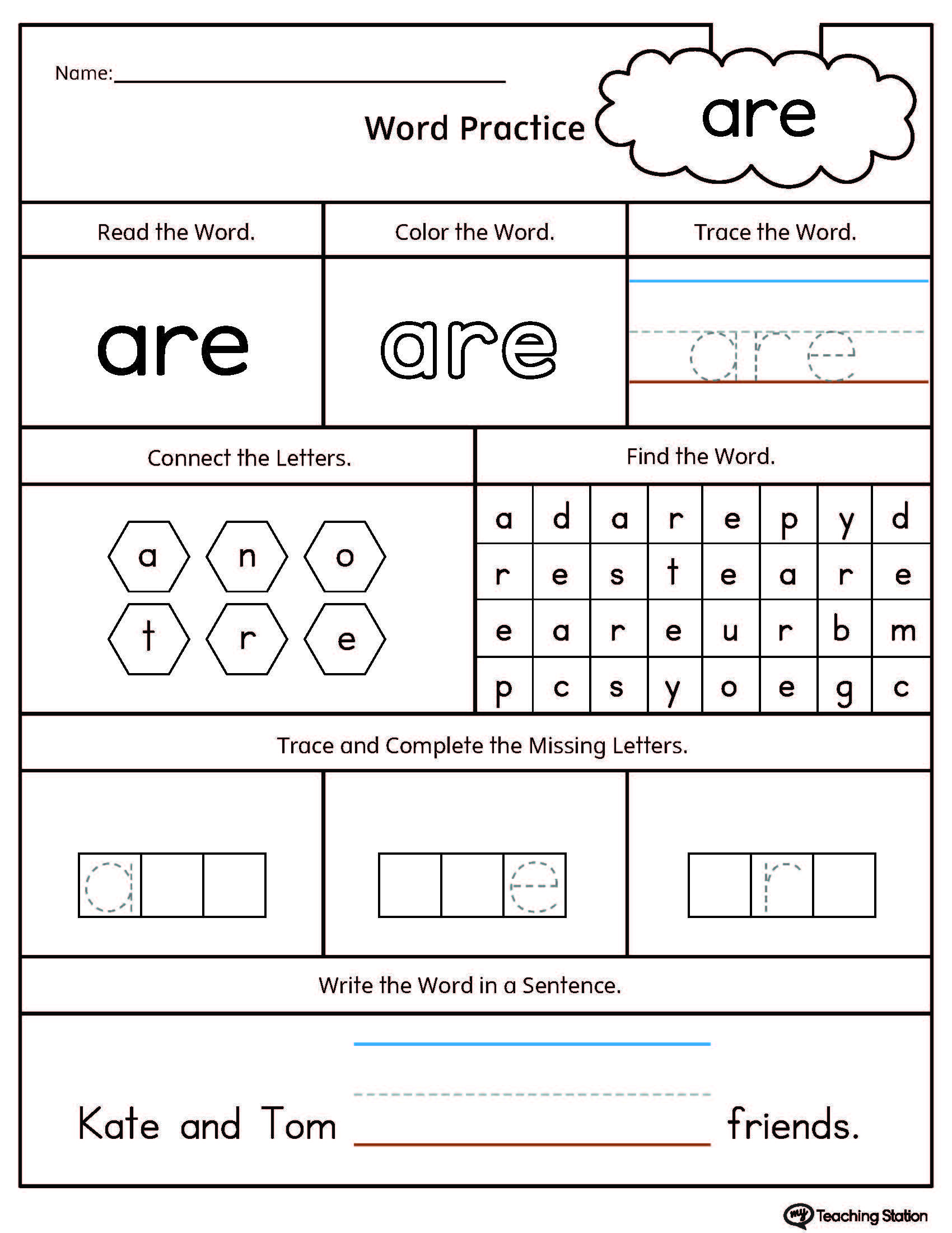 High Frequency Word Are Printable Worksheet Kindergarten Worksheets Sight Words Sight Words Kindergarten Sight Word Worksheets