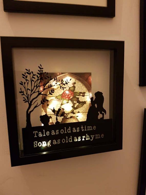 Hand Made Beauty and The Beast Light Up Shadow Box Frame. Tale as ...