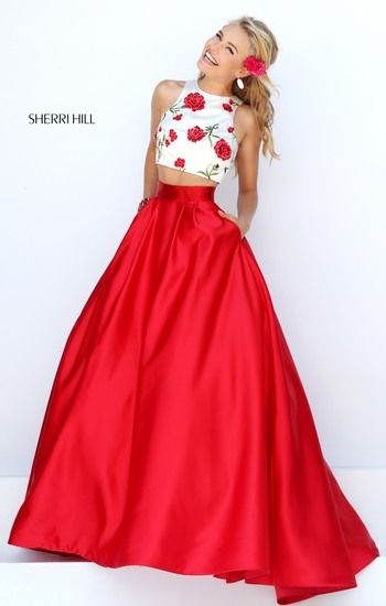 Two piece evening dress. Bottom is scarlet red, and top is patterned ...
