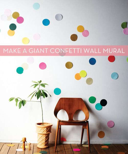 Spruce up bare walls with a #DIY confetti wall mural!