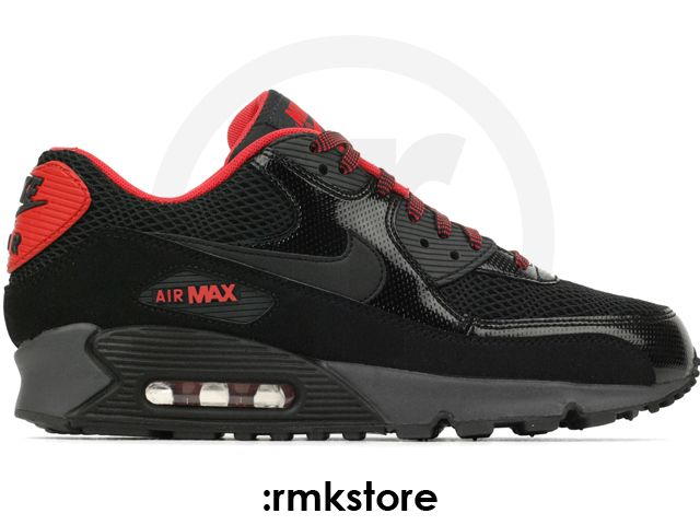 detailed look 97eac bd831 Nike Wmns Air Max 90 Black Fusion Red