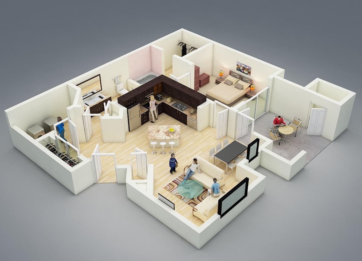 25 One Bedroom House Apartment Plans Departamentos Planos