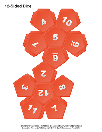 printable 12 sided dice template make a game dice template