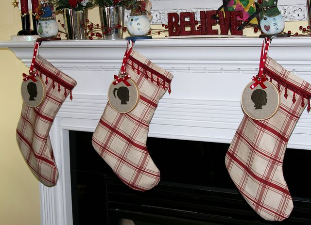 silhouette ornament on stocking