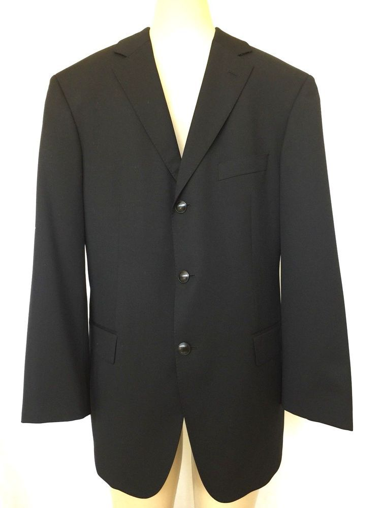 ab58dec8c Hugo Boss Rossellini Black Sport Coat Suit 3 Button Blazer 40S Wool Super  100 #HUGOBOSS #ThreeButton