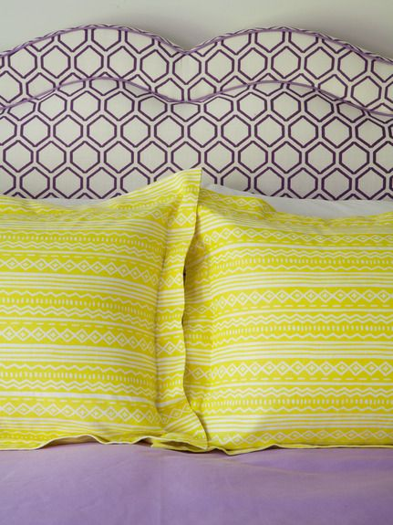 "Fabric -  ""Chip"" in Plum and ""Pizzetta"" in Limone - Amanda Nisbet Design - Dering Hall"
