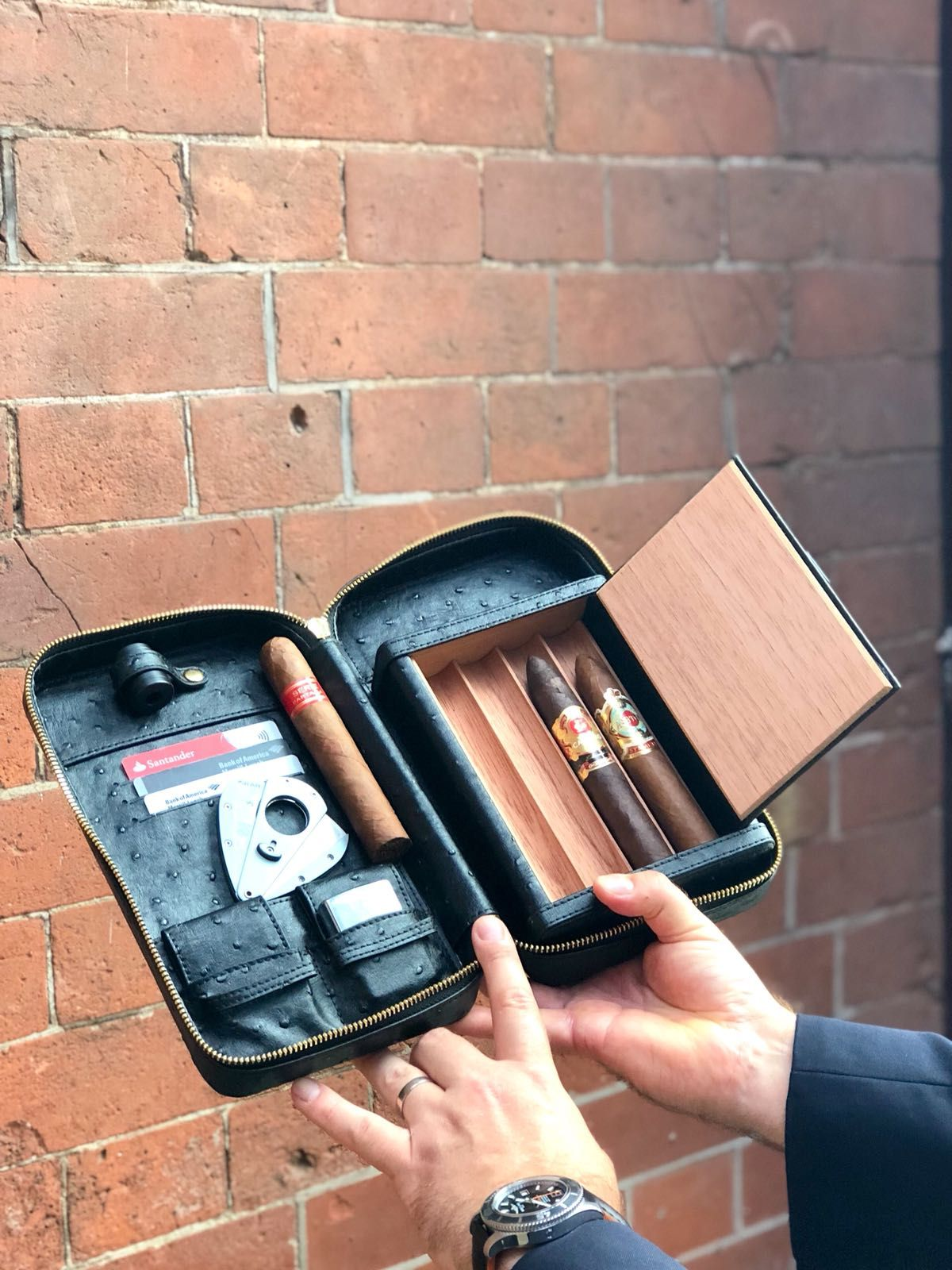 Luxury leather cigar travel case cigar travel case
