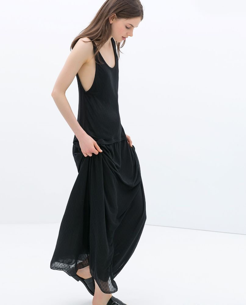 Nwt zara long dress with waist seam ss trf black size s i love