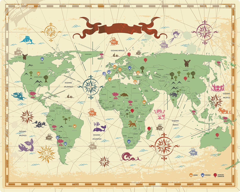 Mapa Mundi desenho estilo vintage cones  Poster e frases