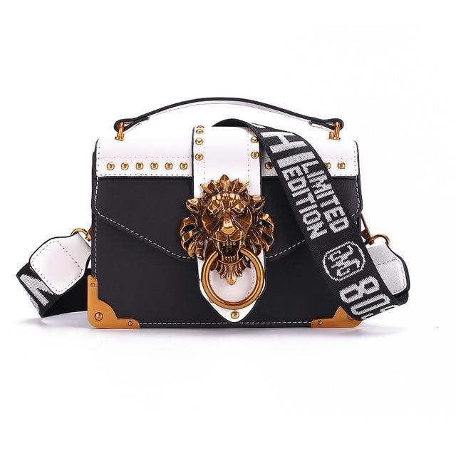 Metal Lion Head Mini Small Square Pack Shoulder Bags