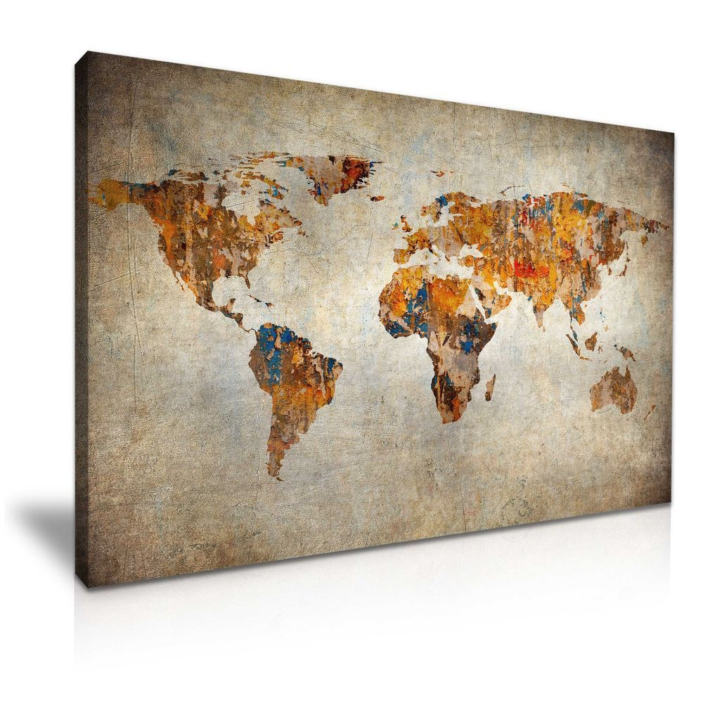 Vintage world map canvas wall art picture print 76x50cm wall art vintage world map canvas wall art picture print 76x50cm in art canvasgiclee prints ebay gumiabroncs Choice Image