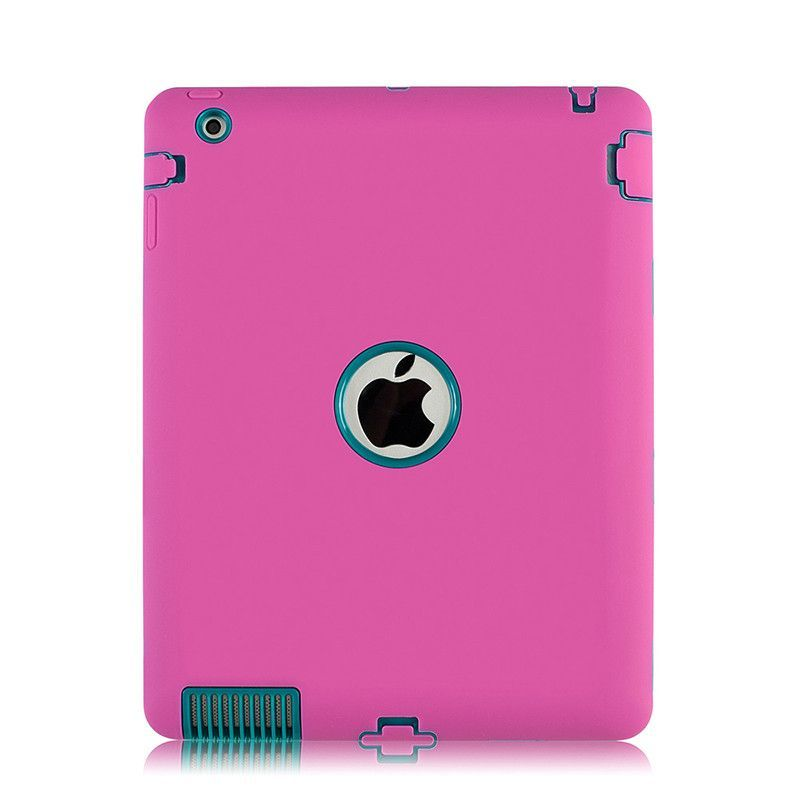 For Apple iPad 2 iPad 3 iPad 4 Heavy Duty Rubber Hard Silicon Case Cover Shockproof Dual Layer For Apple iPad 2 3 4 9.7 Inch