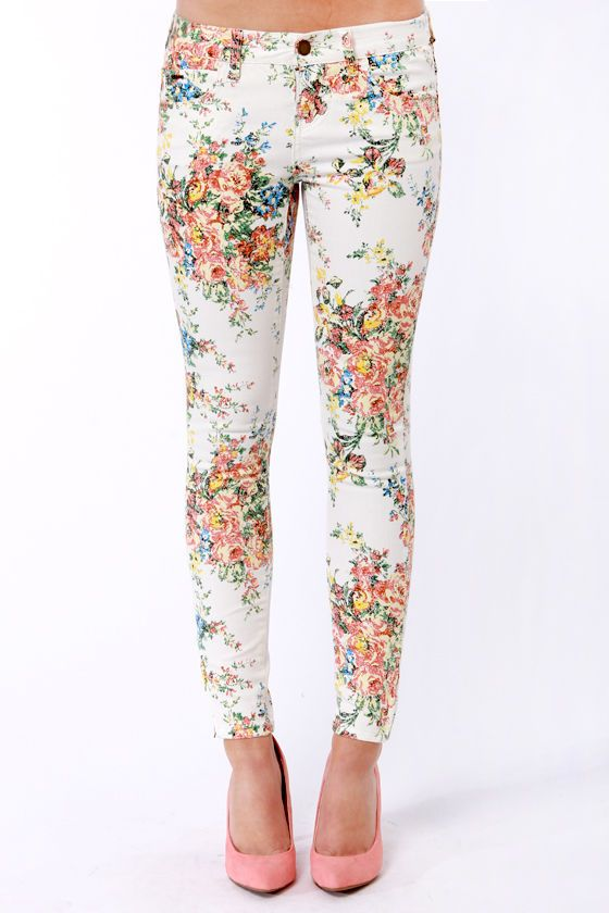 Billabong Seeker White Floral Print Skinny Jeans | Clothes