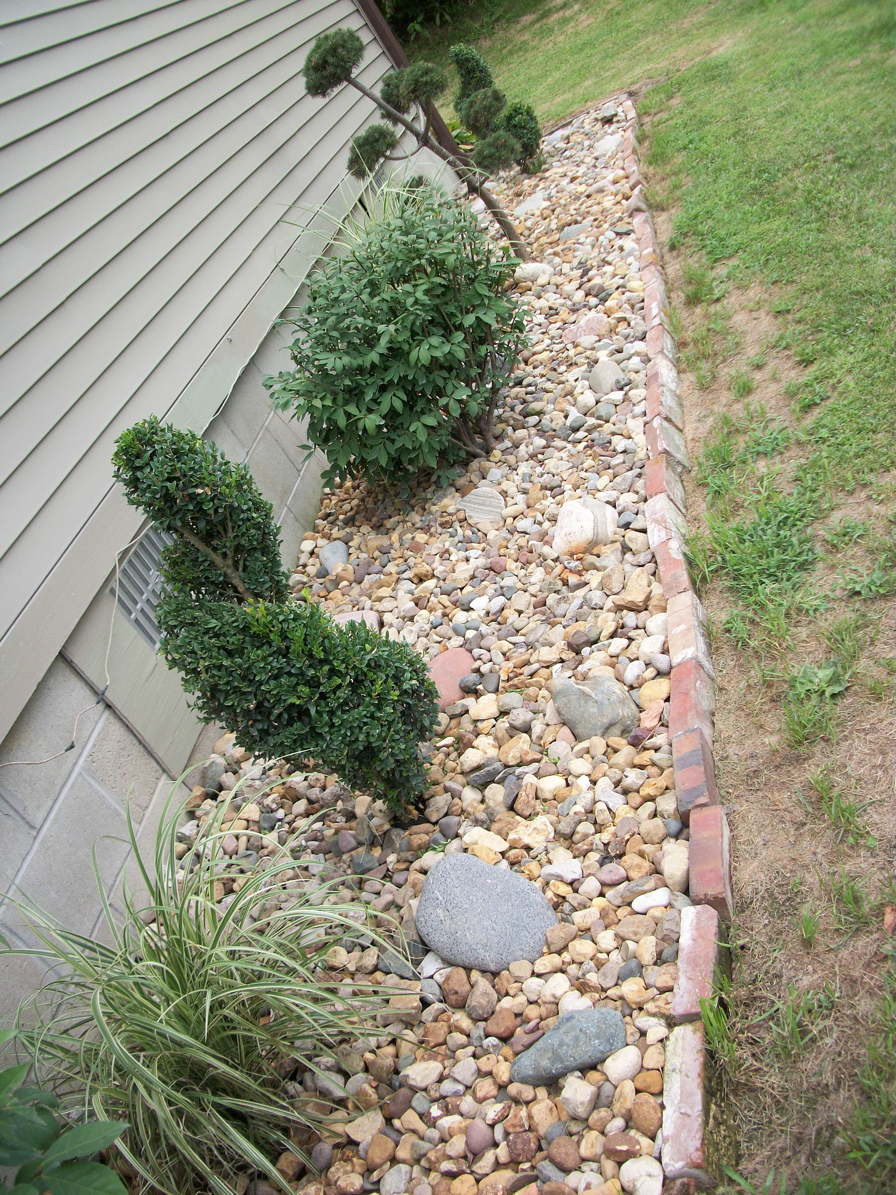 rock garden with topiaries