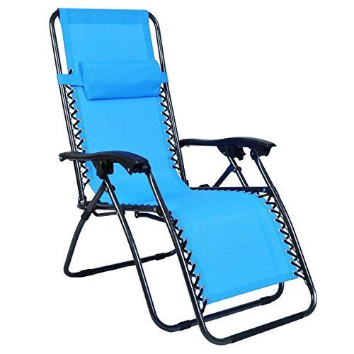 Odaof Zero Gravity Recliner Lounge Patio Pool Chair Light Blue