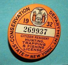 1932 New York Hunting Fishing License Pin Badge Fish Antiques Pin Badges