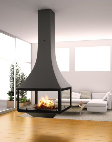 Hanging Fireplace Wood Burning Closed Hearths Contemporary