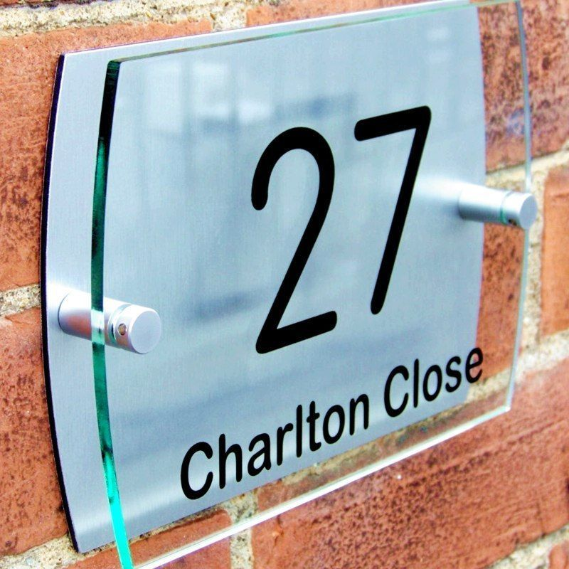Modern House Number Plaque Door Sign Street Road Name Glass Acrylic