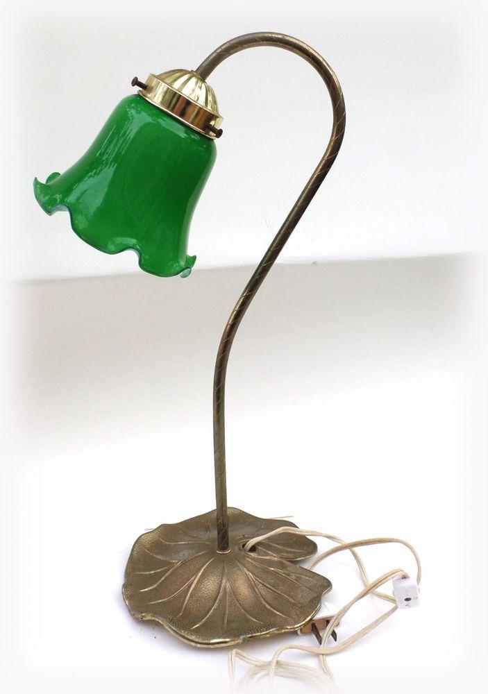 Fluted Green Shade Desk Lamp Bankers Lamp Vintage ...