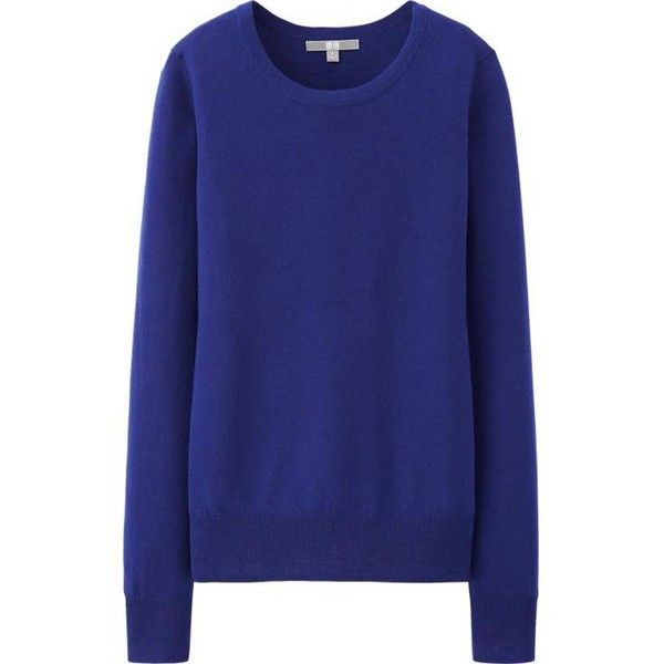UNIQLO Women Extra Fine Merino Crew Neck Sweater ( 5.90) ❤ liked on  Polyvore featuring tops e990192f3