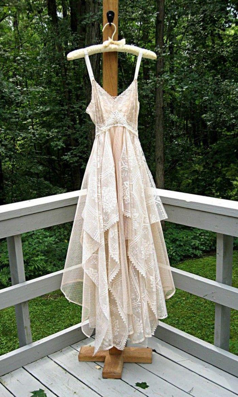 beiges boho brautkleid tüll spitze vintage | Hochzeitskleider ...