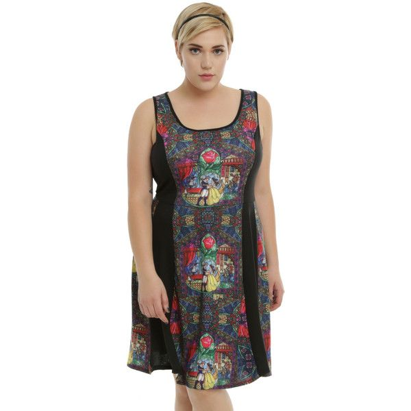 554953e6ebd Disney Beauty And The Beast Stained Glass Panel Skater Dress Plus Size  ( 36) ❤