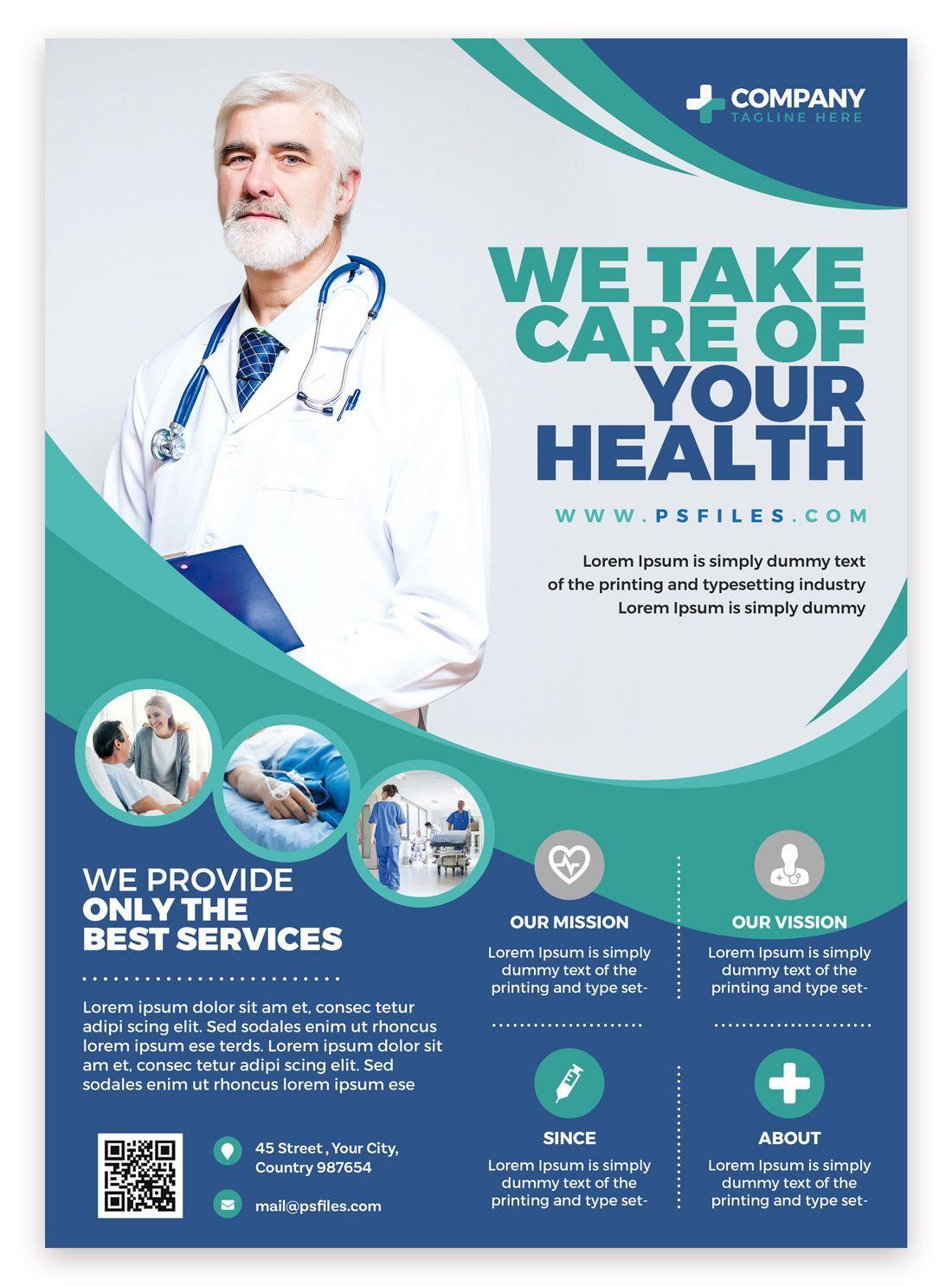 Hospital Health Care Free Psd Flyer Template Medical Posters Hospital Health Free Psd Flyer Templates