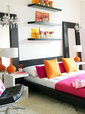 Bright vivid pink, orange bedroom Bedrooms Pinterest Bedrooms - Orange Bedrooms
