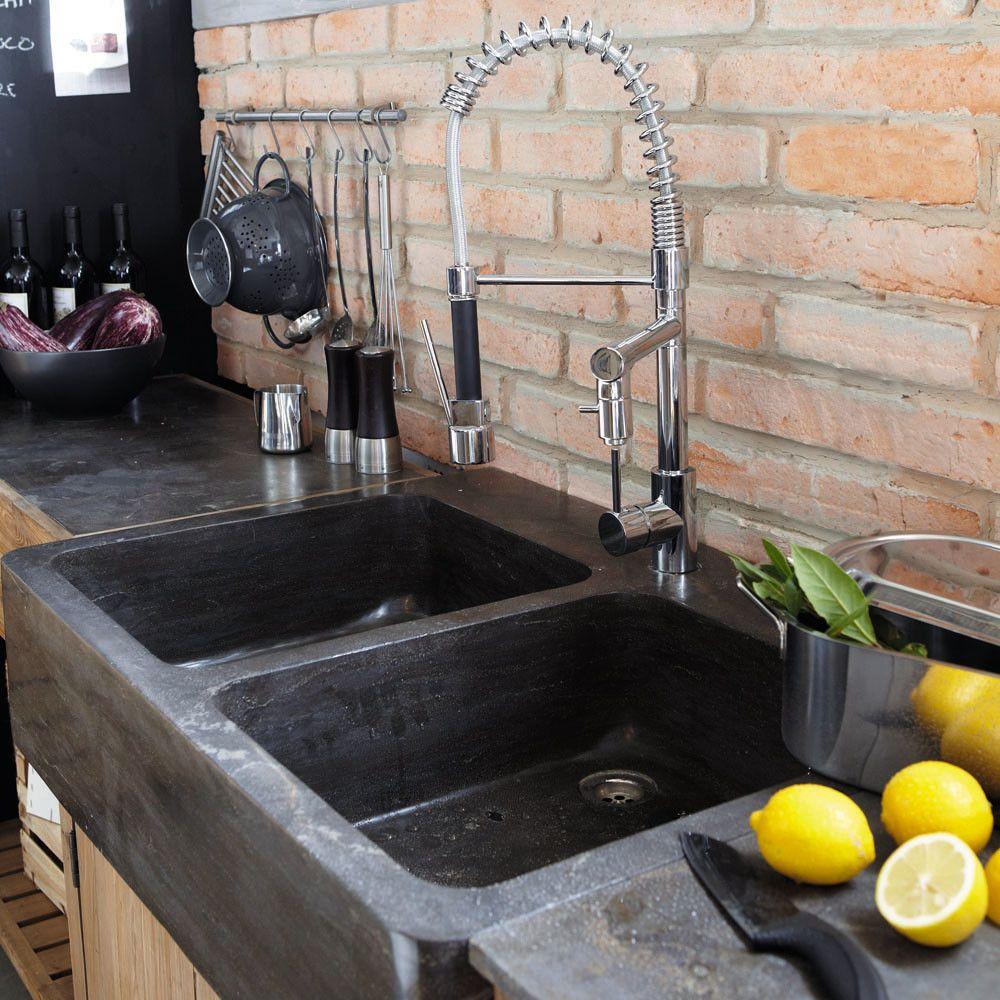 Küchenunterschrank aus recyceltem Kiefernholz mit Spüle, B 90 | Mond ...
