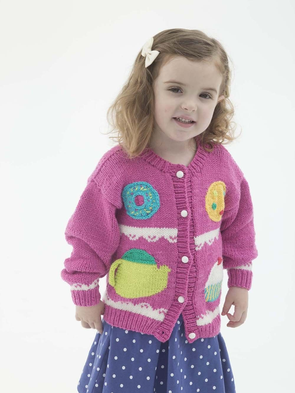 Sweets cardigan pattern knit children knits pinterest free knitting pattern for sweets cardigan for children to fit chest with motifs fit for a tea party with cookie teapot donut cupcake bankloansurffo Gallery