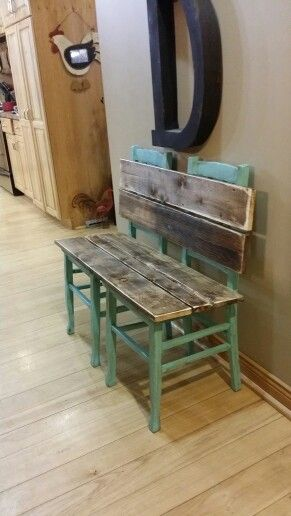 Rustic bench painted and distressed in aqua. Made from old chairs ...