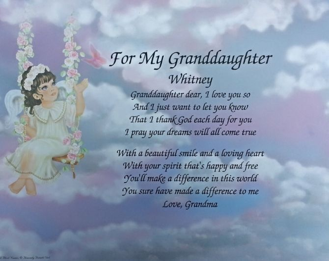 Poem for my granddaughter birthday or christmas for Birthday gifts for grandma from granddaughter