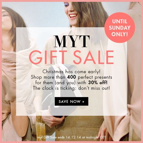 30% off Gift Sale SUNDAY ONLY at www.mytheresa.com