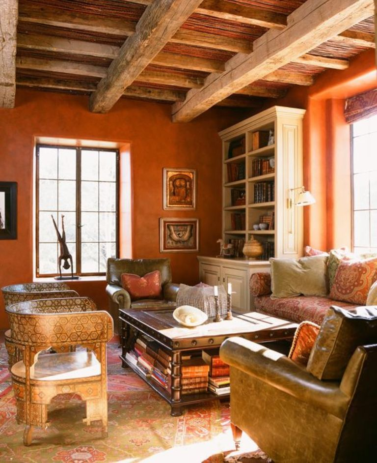 Rustic Interior Design Ideas Living Room: Rustic Orange Living Room