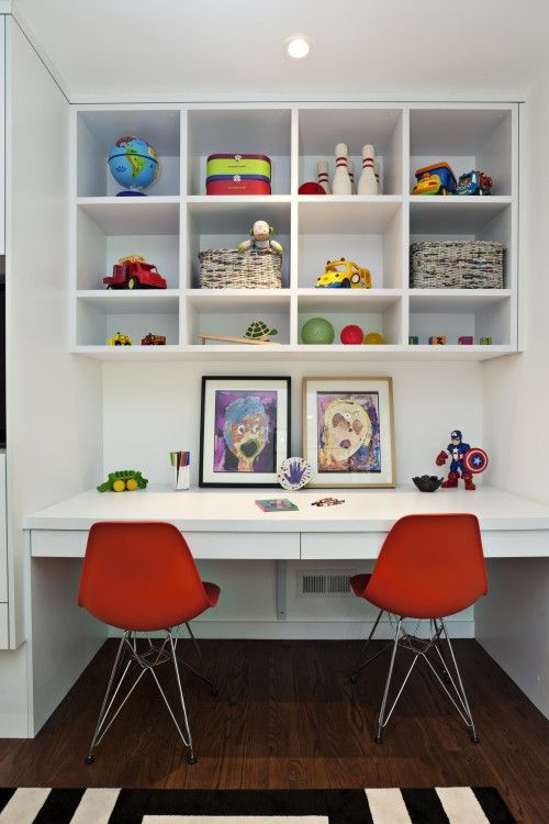 built in desk ~ ,maybe the family room! ~ Fiorella Design: Floating desk in  boy's bedroom with white desk, built-in white cubbies, ivory & black .