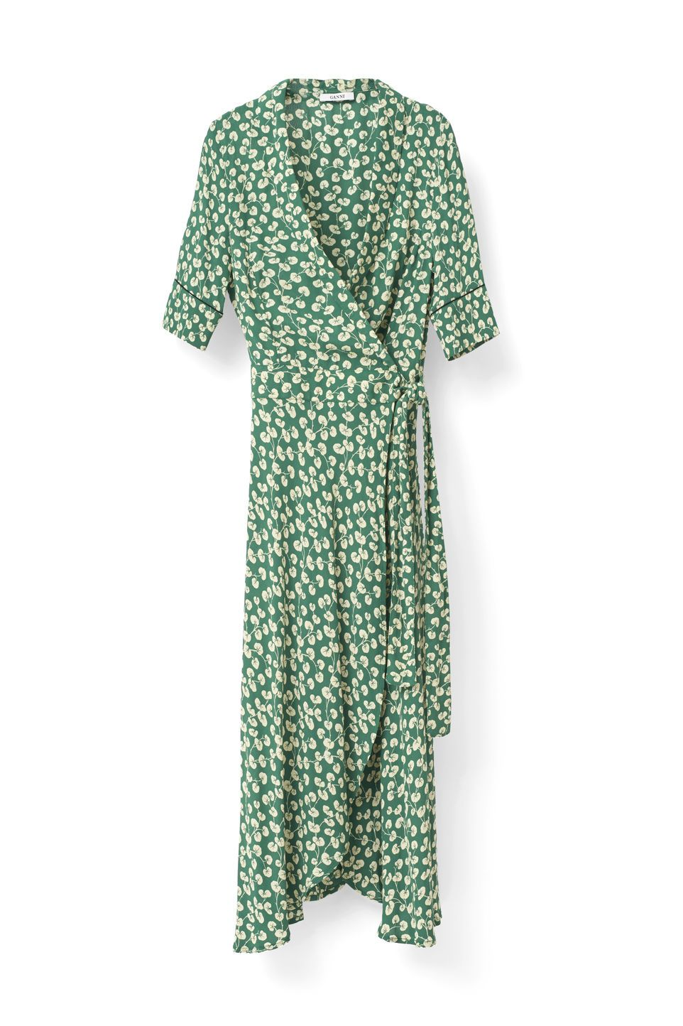Dalton Crepe Dress, Verdant Green | Ganni dress, Kimono