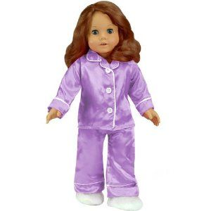"""18 Inch Doll Clothing, Lavender Satin Doll Pj's with White Slippers, Doll Pajamas Set Fits American Girl Dolls by Sophia's. $15.95. White Fuzzy Slippers. Lavendar Satin Long Sleeve Shirt with White Buttons and Piping.. 18"""" Doll 3 Piece Pajama Set. Elastic Wait Lavendar Satin Pants with White Piping.. These comfortable Lavender Satin Pj's come with fluffy white slippers! This adorable sleepwear set is great for your 18 inch doll, like the American Girl doll!"""