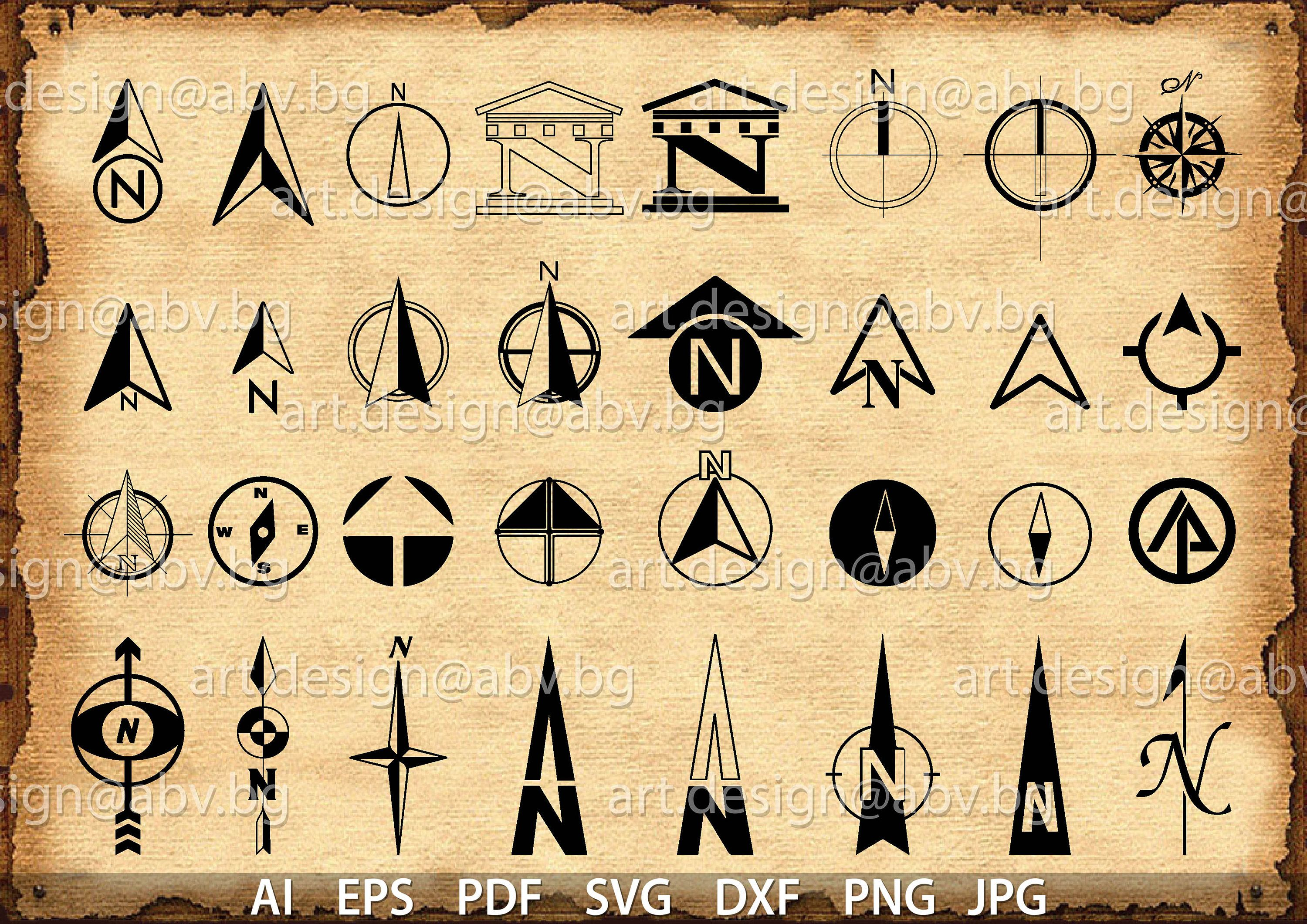 Vector 32 North Arrows Ai Eps Svg Dxf Pdf Png Jpg Download Digital Graphical Discount Couponsjpg In 2021 Graphic Dxf Vector