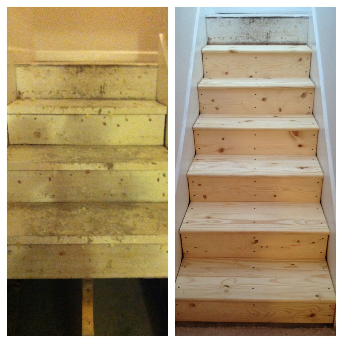 DIY carpeted stairs replaced with pine treads and risers